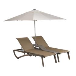 DOUBLE BAIN DE SOLEIL SUNSET Bronze Fusion / Toile Cognac + parasol