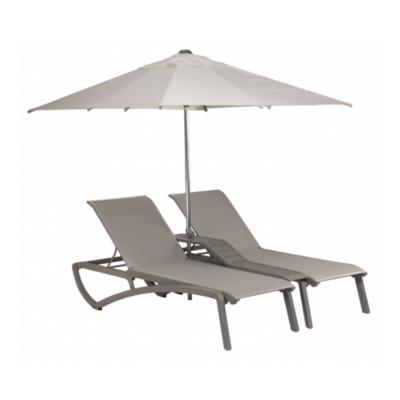 DOUBLE BAIN DE SOLEIL SUNSET Gris Platinium / Toile grise + parasol