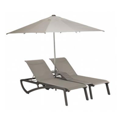 DOUBLE BAIN DE SOLEIL SUNSET Noir Volcanique / Toile grise + parasol