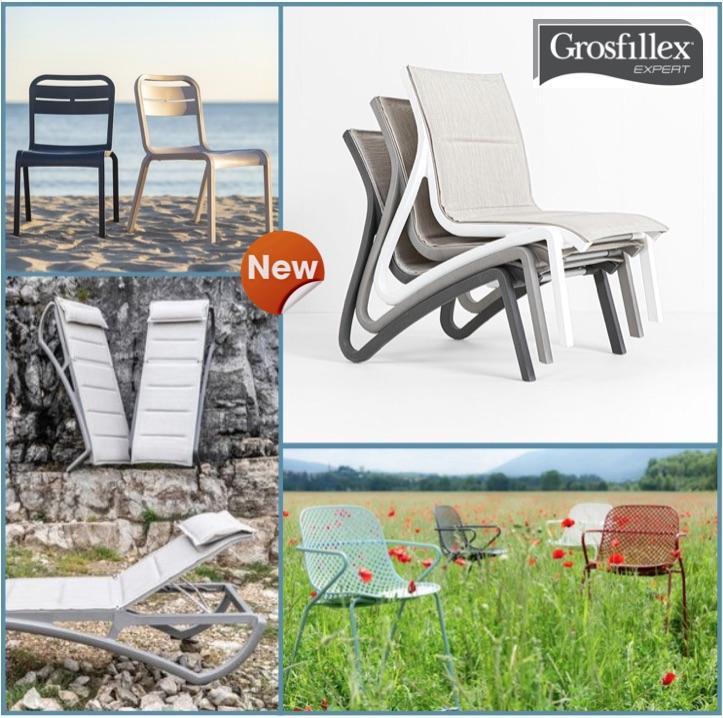 Chaises, fauteuils, tables, bains de soleil, bacs à plante GROSFILLEX