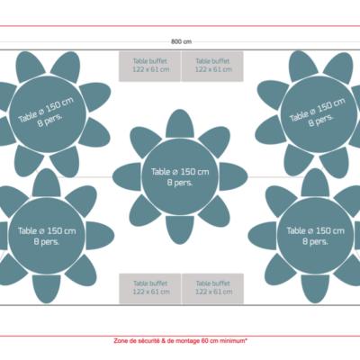 Pack réception 40 personnes – Tables rondes