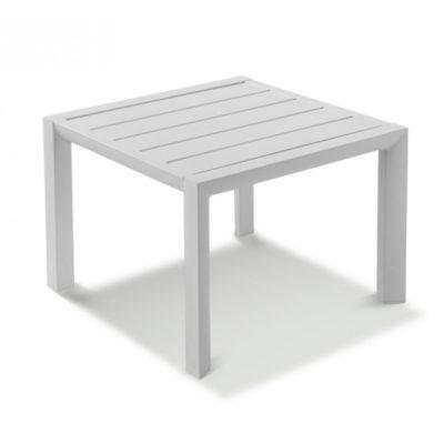 Table basse SUNSET Grosfillex 50×50 Aluminium Blanc