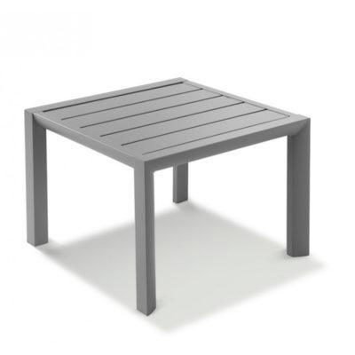 Table basse SUNSET Grosfillex 50×50 Aluminium Gris Platinium