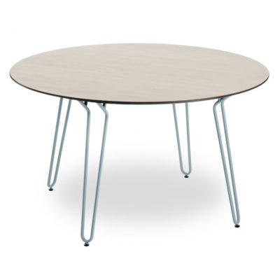 Table RAMATUELLE 73 Grosfillex ∅130cm Bleu Ether / Bois Naturel