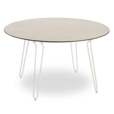 Table RAMATUELLE 73 Grosfillex ∅130cm Crème Absolue / Bois Naturel